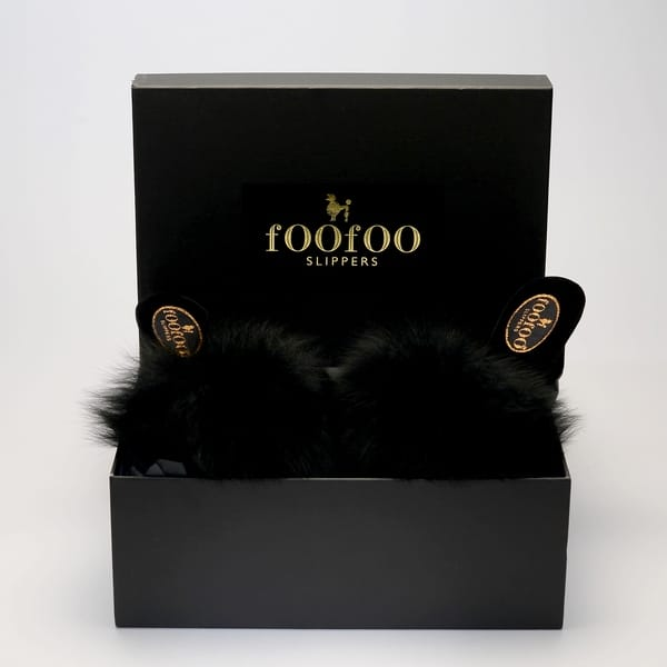 foofoos black fluffy mule with black sheepskin uppers in box