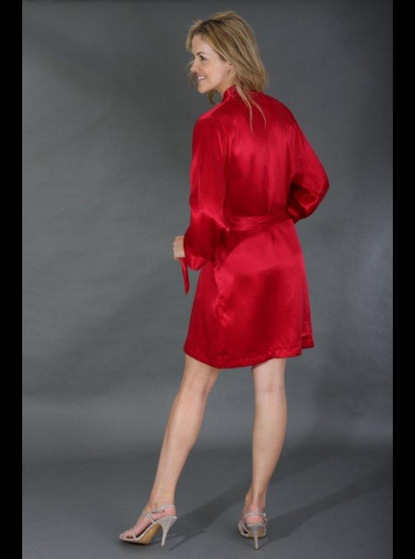 ... Silk Cocoon Short Cherry Red - Silk Robe ... 89e2787d7