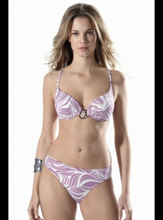 Little Kiss Plunge Bikini -  Purple and Cream