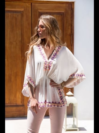 Lindsey Brown Luxe Resort Wear Lindsey Brown Luxe - Manhattan - White Sequined Silk Kaftan Top