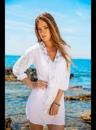 Lindsey Brown Luxe Resort Wear Lindsey Brown Luxe - Monaco White Designer beach cover-up