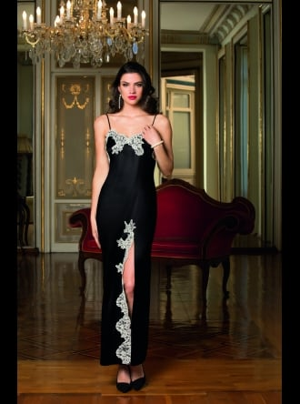 Lise Charmel - Splendeur Soie - Black Long Silk Nightdress
