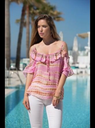 Lindsey Brown Luxe Resort Wear Lindsey Brown Luxe - Majorca - Pink Cold Shoulder Top