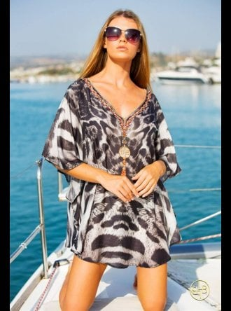 Lindsey Brown Luxe Resort Wear Lindsey Brown Luxe - Cuba - Animal Print Kaftan Top