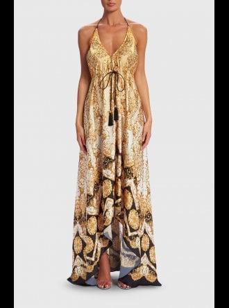 Forever Unique Swimwear and Beachwear Forever Unique Beachwear - Amedea - Embellished Baroque Print Maxi Dress