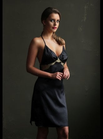 Emma Harris - Cleo - Black Silk Slip