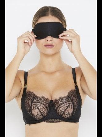 Katherine Hamilton - Ellianna - Black Silk and Vintage Lace Eye Mask