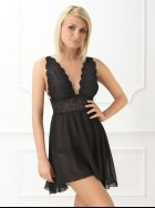 Vanilla Nightwear - Black Sheer Babydoll Nightdress
