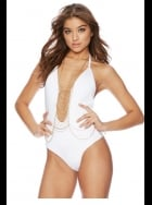 Beach Bunny Swimwear - Chain Reaction - White Swimsuit