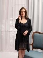 Vanilla Nightwear - Black Robe 2834