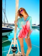 Lindsey Brown Luxe - Capri - Sequined Silk Kaftan Top