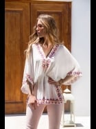 Lindsey Brown Luxe - Manhattan - White Sequined Silk Kaftan Top