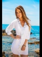 Lindsey Brown Luxe - Monaco White Designer beach cover-up