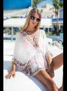 Lindsey Brown Luxe - Manhattan - White and Papaya Silk Sequined Kaftan Top