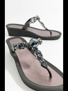 Zola - Black Wedge  Embellished Pool Sandal