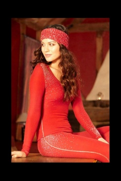 "S'NO Queen - Designer Thermal Underwear - ""Blingy"" Red Sexy Long Johns"