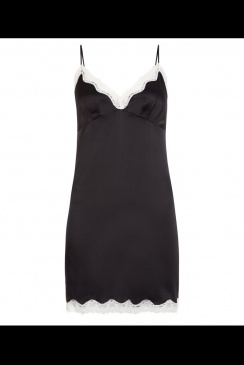JULIANNE - Ava -  Black Silk Chemise