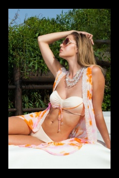 Mya Blue Luxe - Crete Silk Kimono - Orange and Pink
