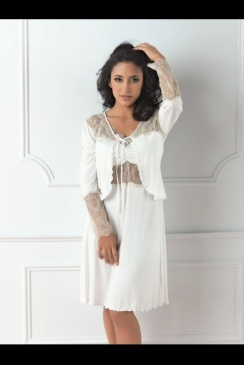 Vanilla Nightwear - Modal and Lace Bed Jacket