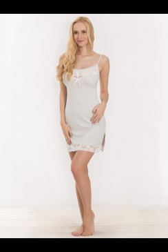Vanilla Nightwear - Pale Grey and Lace Chemise