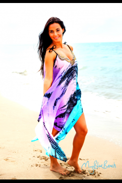 MyaBlueBeach - TARIFA - Tie Dyed Designer Beach Dress