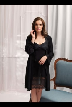 Vanilla Nightwear - Black Robe 2834