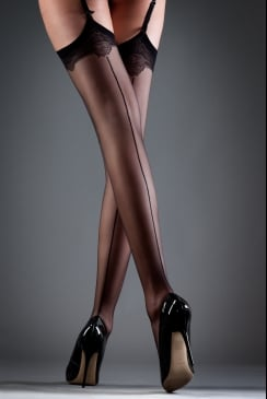 Bluebella - Black Back Seam Lace Top Stockings