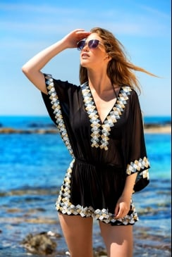 Lindsey Brown Luxe - Manhattan - Black - Sequined Silk Kaftan Top