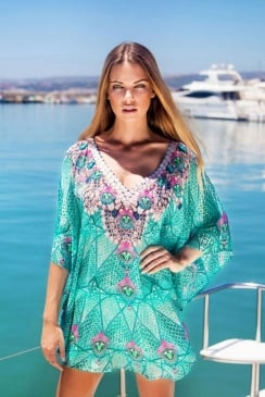 Lindsey Brown Luxe - Crete - Aqua Sparkly Top