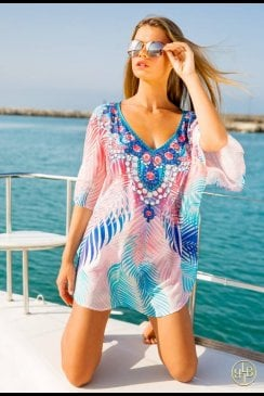 Lindsey Brown Luxe - Mailbu - Blue and Pink Kaftan Top