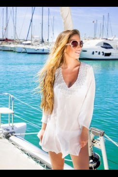Lindsey Brown Luxe - Resort Wear - Palma - Ice White Silk Kaftan
