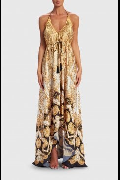 Forever Unique Beachwear - Amedea - Embellished Baroque Print Maxi Dress