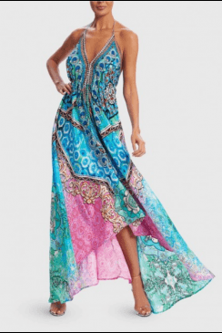 Forever Unique Beachwear - Blue, Green and Pink Scarf Print Asymmetric Maxi Beach Dress