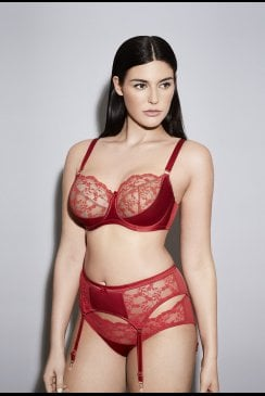 Katherine Hamilton Intimates - Sophia Red Suspender Belt