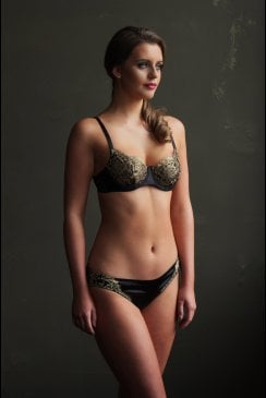 Emma Harris - Cleo - Black Silk Balcony Bra