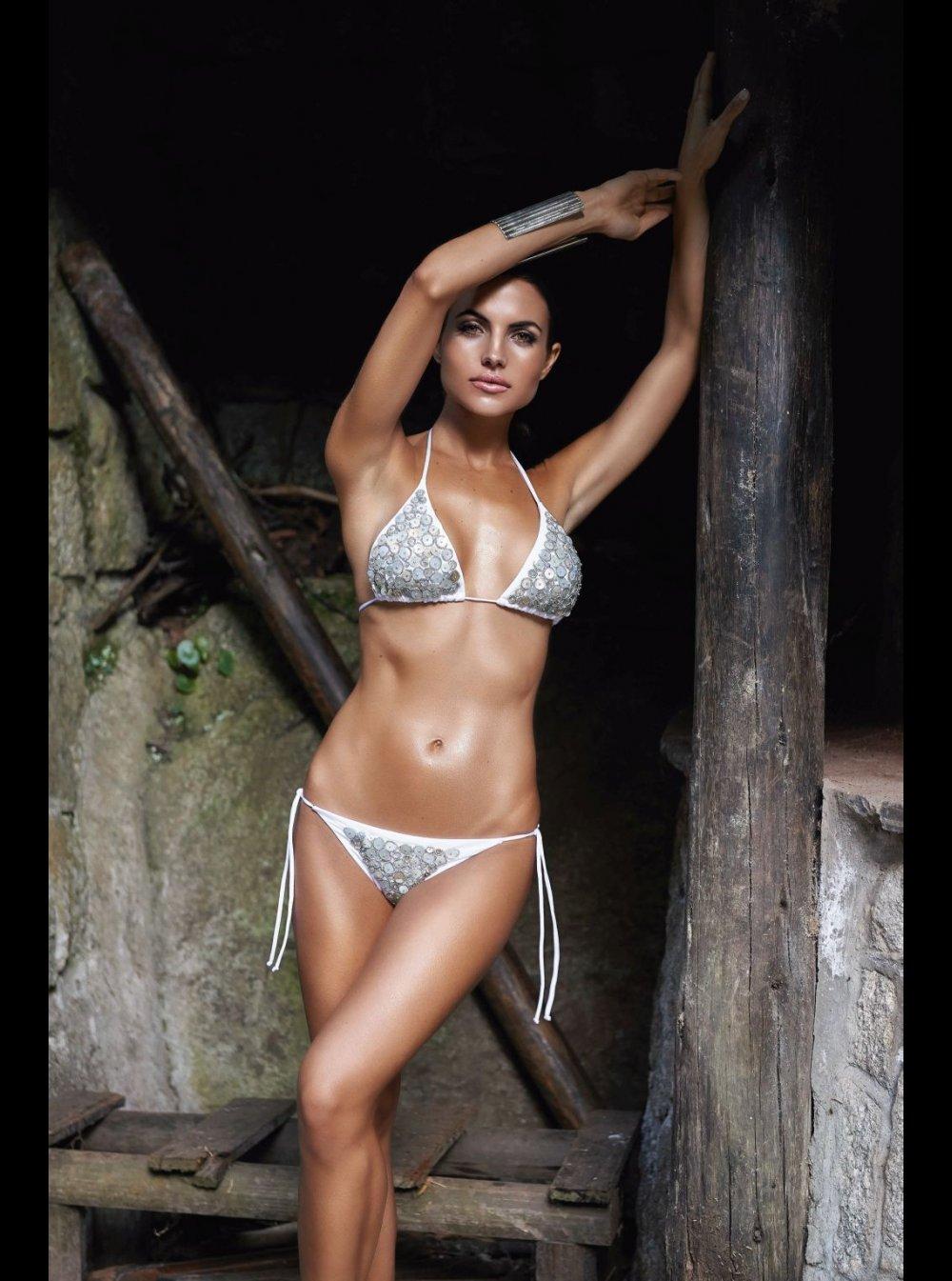 Aguaclara - Madre Perla - White Jeweled Triangle Bikini. ‹