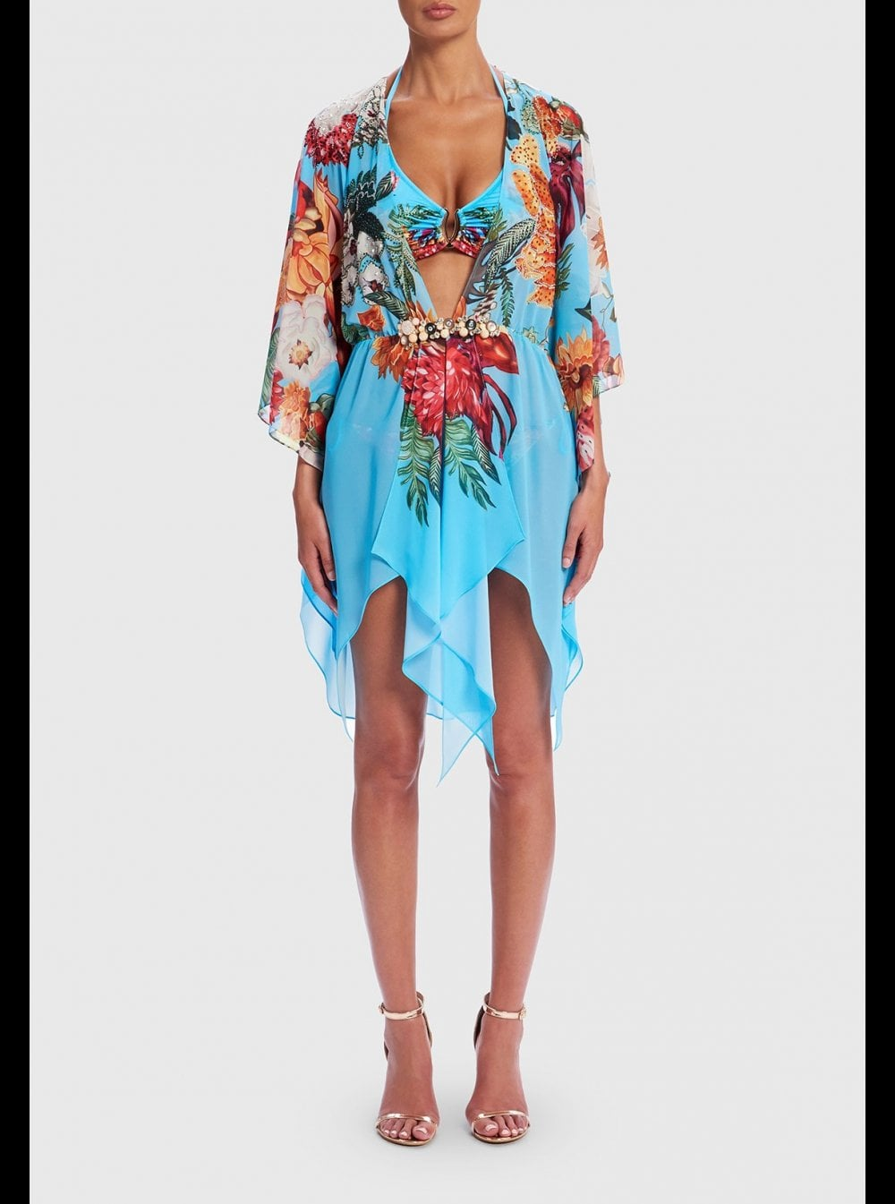 7a38de8de9 Forever Unique Beachwear | Nerine |Floral Kaftan Dress-Honeys Lingerie